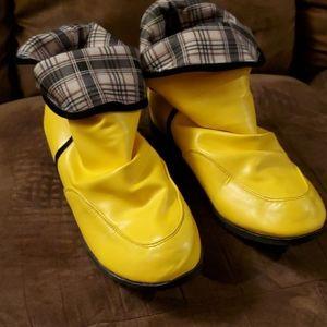 Bright mustard yellow booties plaid lining